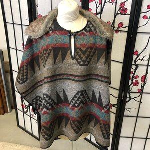 Forever 21 Aztec Print Poncho one size/medium